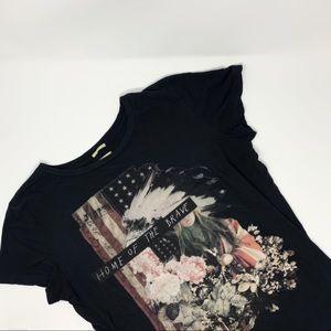 "Denim&Supply ""Home Of The Brave"" Draped Tee Shirt"